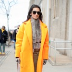 Liz Cabral in an Orange Coat, Outside Derek Lam