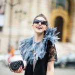 Black Dress and Feather Collar, Outside Rochas