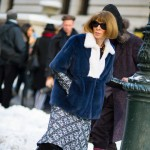 Anna Wintour in a Blue Fur in the Snow