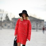 Red Lace Dress, Outside Valentino