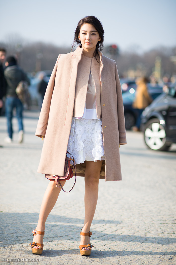 Pink Coat And Flower Applique Skirt Outside Chloe Gastro Chic