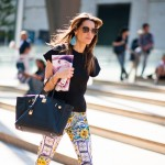 Printed Pants and Black Hermes Bag, Lincoln Center