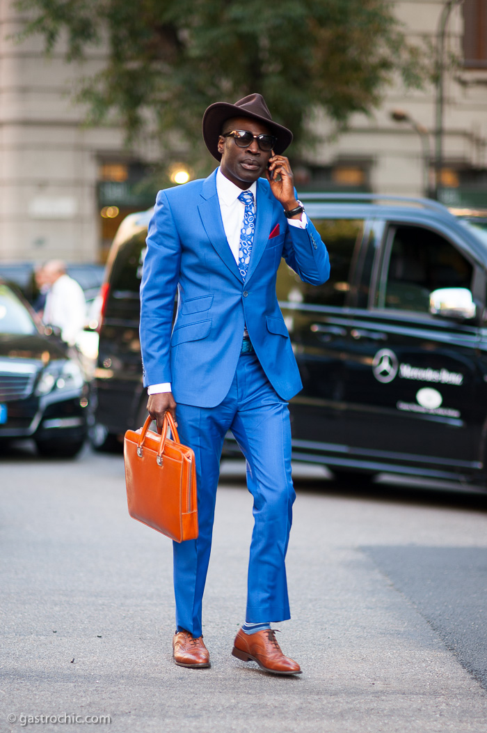 blue suit and brown hat milan gastro chic
