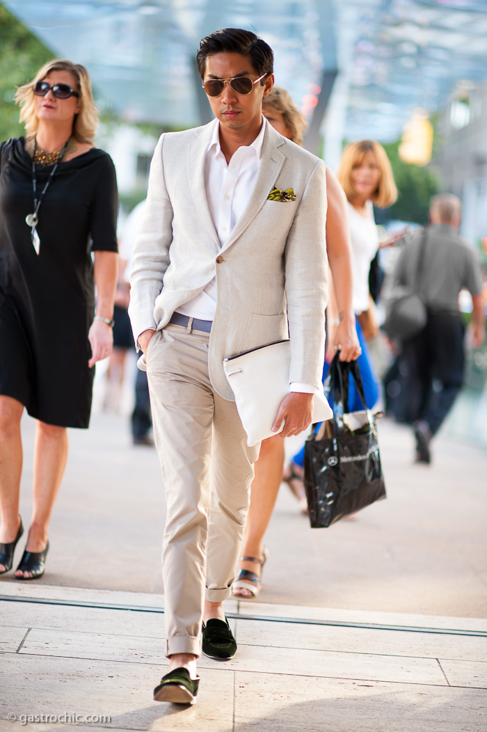 Linen Blazer and Khakis, Outside Timo Weiland | Gastro Chic