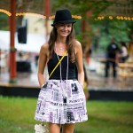 Black and White Newsprint Skirt, Parisian Ball