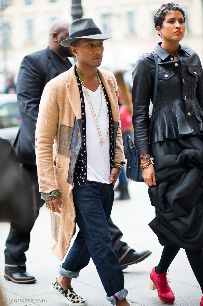 I have to say I had no idea Pharrell Williams was so well dressed in   real life.  This is such a great mix of the patchwork coat, tee, necklaces