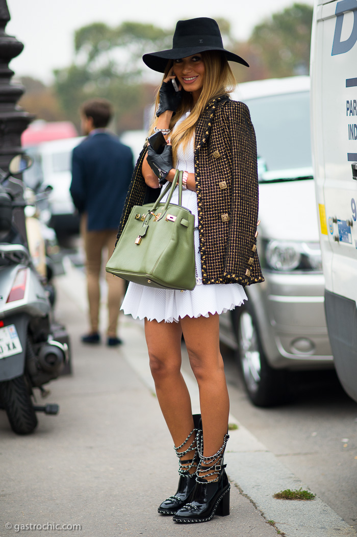 White Dress And Chanel Jacket Outside Chanel Gastro Chic