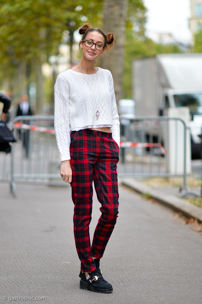 Plaid Pants and Cropped Sweater, Outside Miu Miu | Gastro Chic