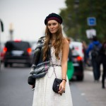 White Lace Dress and Plaid Jacket, Outside Chanel