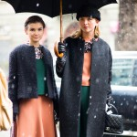 Two Girls in the Snow, Outside Dolce & Gabbana