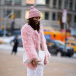 Pink Coat and Hat, Outside BCBG