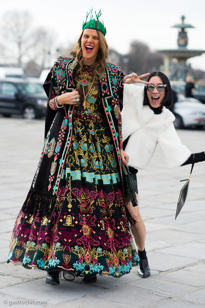 Anna Dello Russo and Eva Chen at Valentino