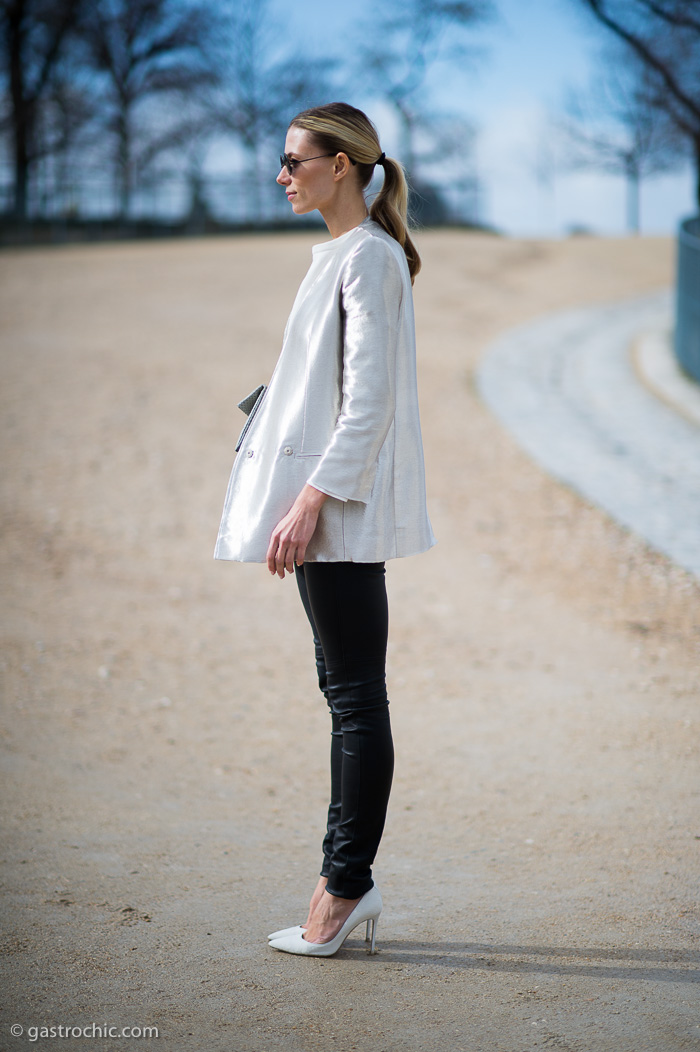 White Silk Jacket and Black Pants, Outside Issey Miyake