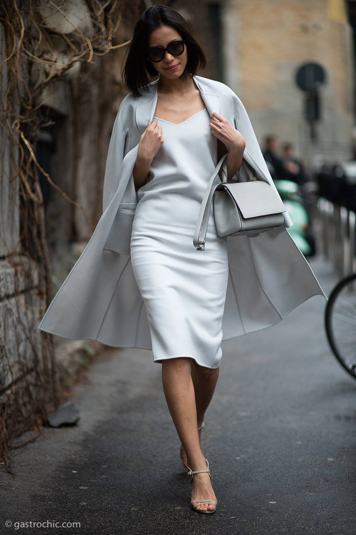 Gray Dress and Coat, Outside Max Mara