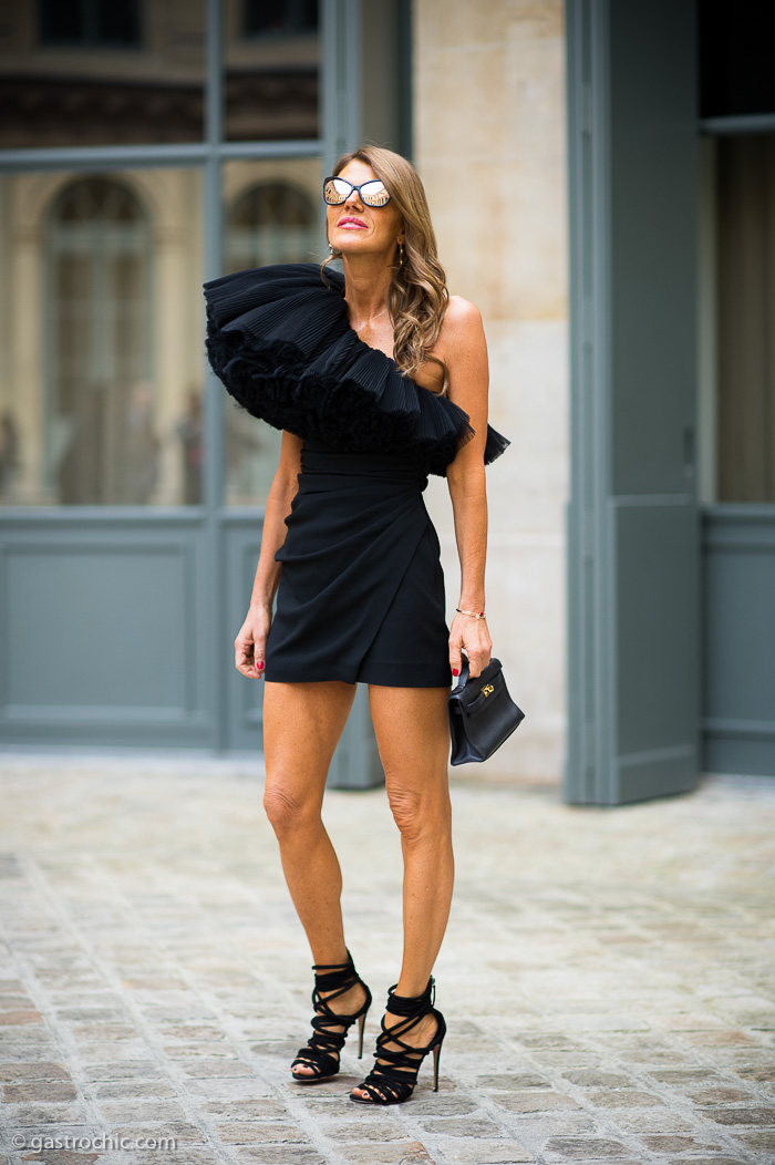 Anna Dello Russo in Saint Laurent, Outside Schiaparelli