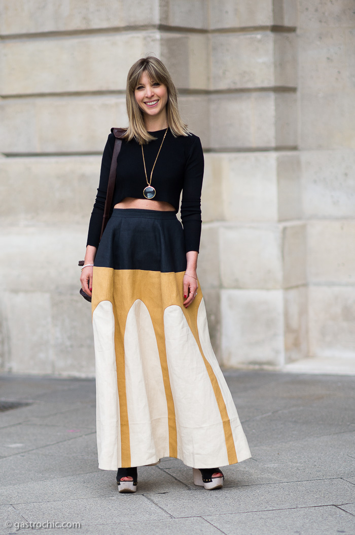 crop top and maxi skirt outside schiaparelli gastro chic