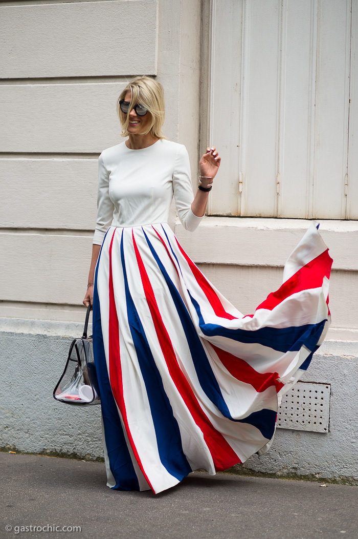 Red White and Blue Maxi Skirt, Outside Dior Couture | Gastro Chic