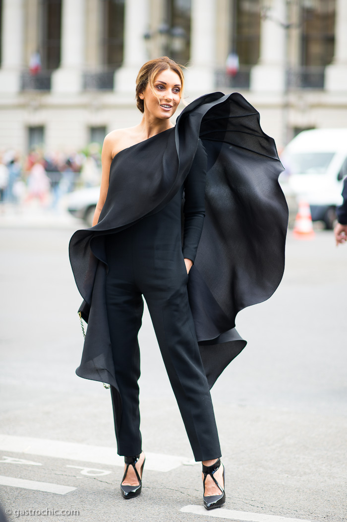 Black Ruffle Pant Suit, Outside Chanel