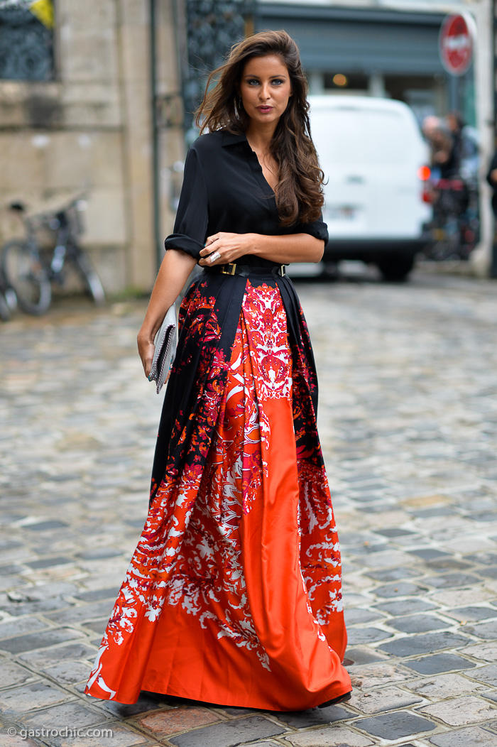 orange maxi skirt outside zuhair murad gastro chic