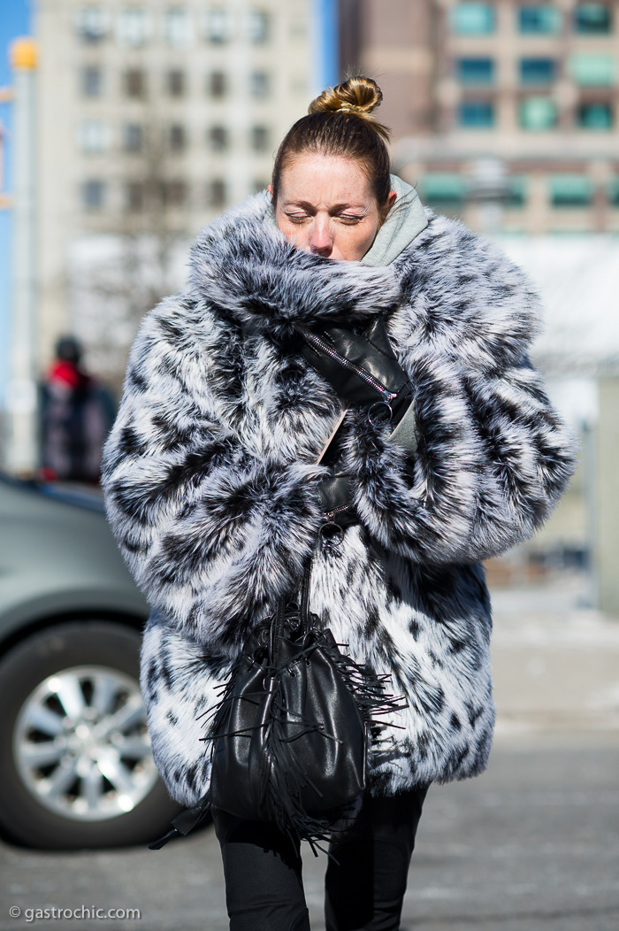 Black and White Fur Coat, Outside Jason Wu FW2015