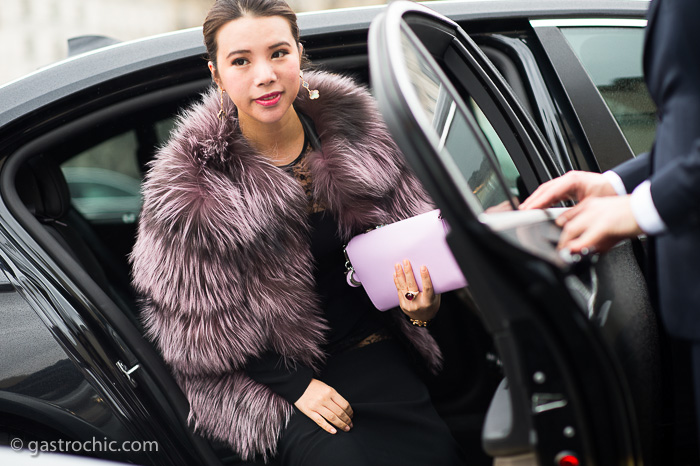 Pink Fur Coat, Outside Elie Saab Couture SS2015