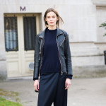 Black Leather Jacket and Silk Pants, After Moncler Gamme Rouge