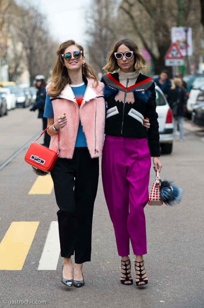 Chiara Ferragni and Candela Novembre at Fendi FW2015