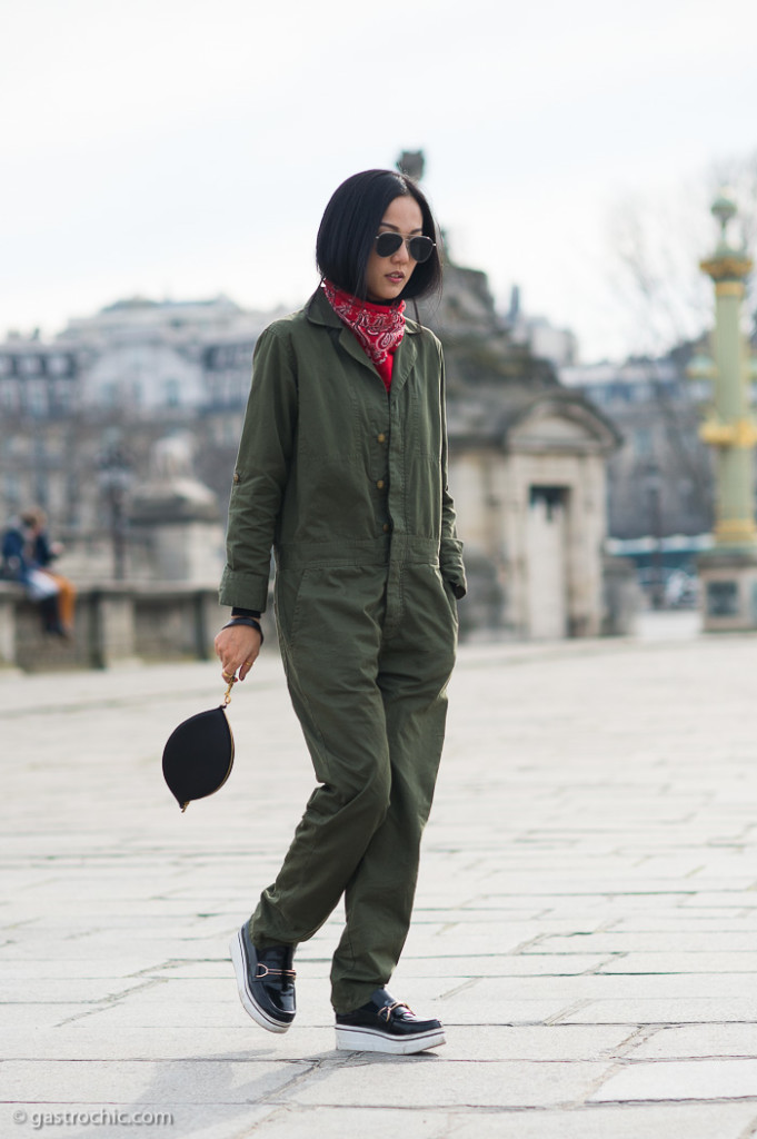 Army Green Jumpsuit and Bandana, Elie Saab FW2015