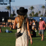 Gaucho Hat and White Silk Dress, Coachella 2015 Day Two