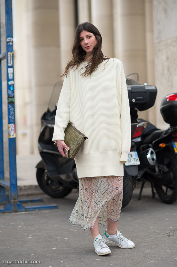 Long White Sweater and Sheer Skirt, Outside Cedric Charlier FW20