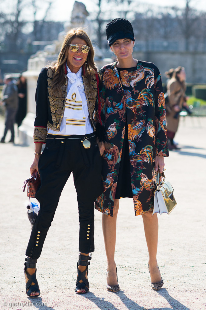 Anna Dello Russo and Giovanna Battaglia at Carven FW2015