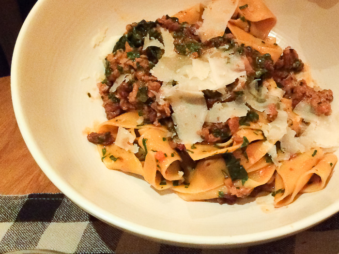Pappardelle with spicy sausage ragu, Upland
