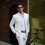 White Linen Suit, Outside Stella McCartney Resort 2016