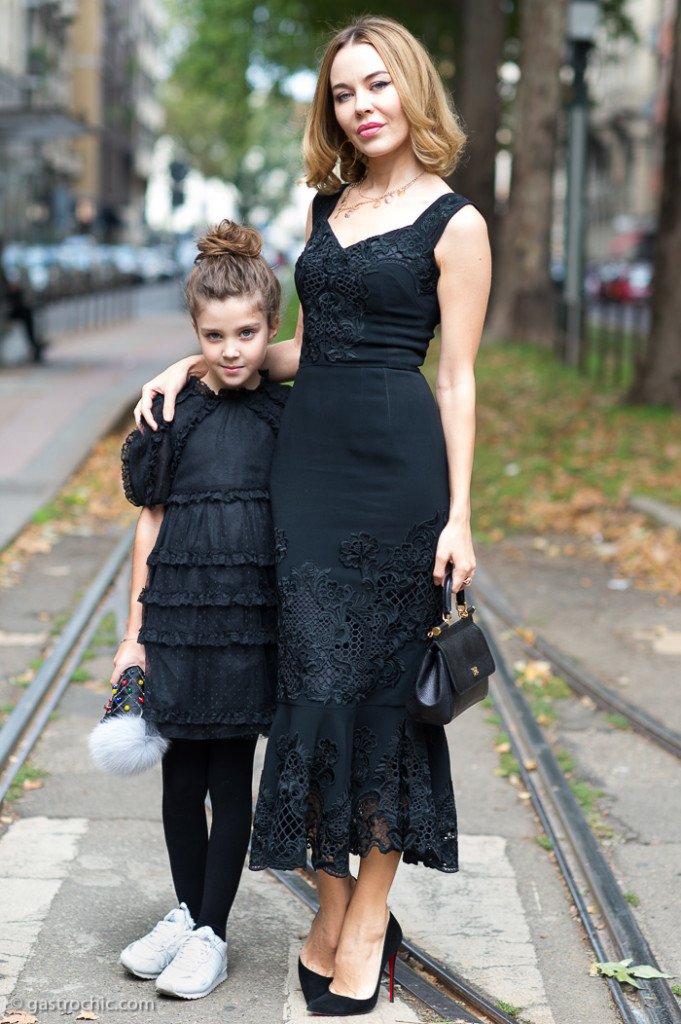 Ulyana Sergeenko and Daughter at the Dolce and Gabbana Show SS2016