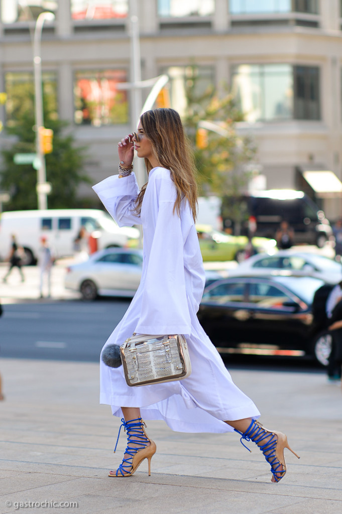 White Dress and Blue Lace Up Heels, Outside BCBG Max Azria