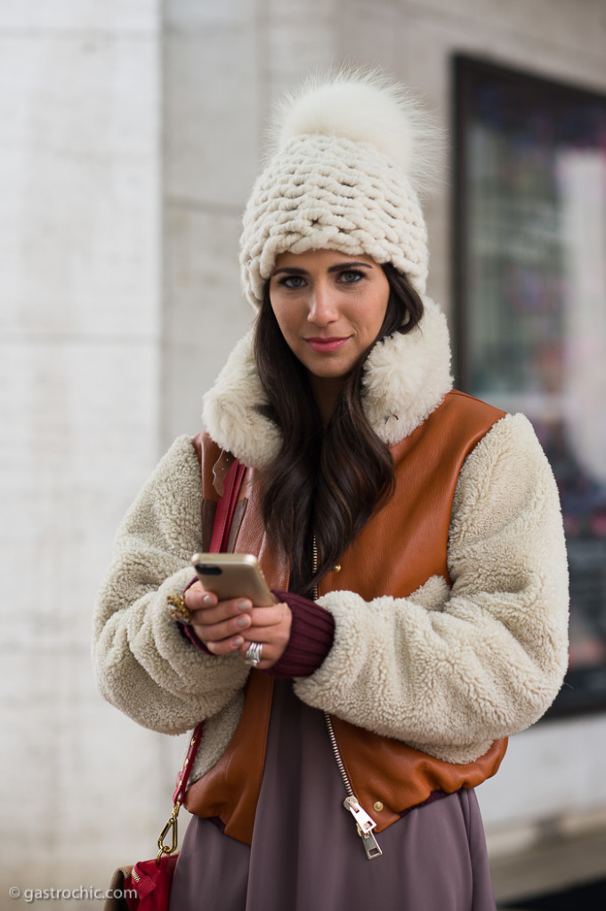 Knit Hat and Shearling Jacket, Outside BCBG FW2015