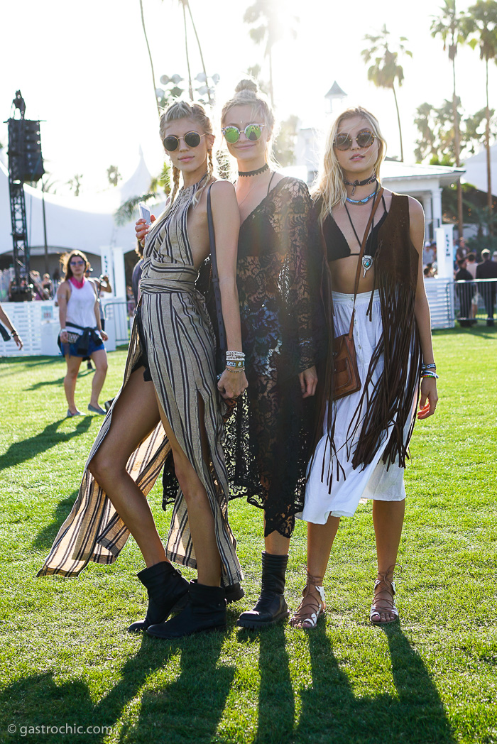 Devon Windsor, Rachel Hilbert and Anouk van Kleef at Coachella F