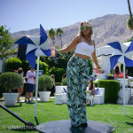 Print Pants and Cropped Top at the Pop Sugar Party, Coachella 20