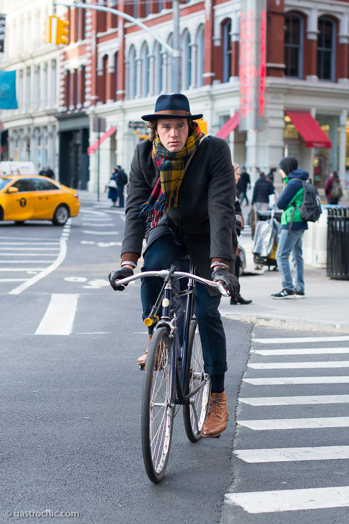 Biking in Hat and Gloves, Astor Place