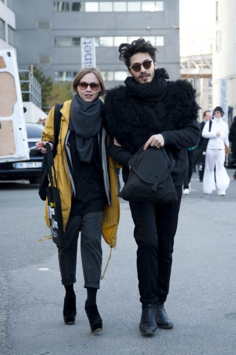 Bright Yellow Jacket and Guy in Fur, Sonia Rykiel and John Galli
