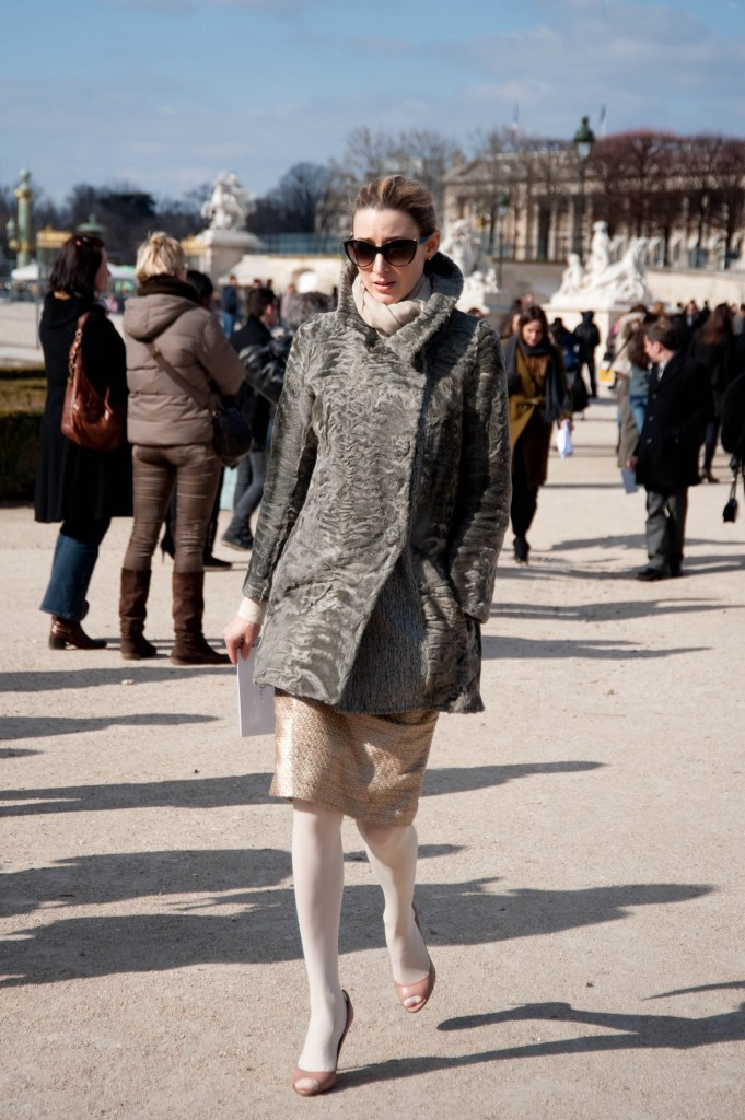 Gray Fur Coat, Christian Dior Show
